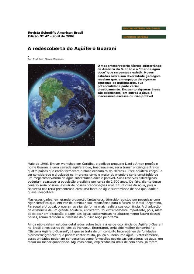 Aquífero Guarani - Scientific American Brasil