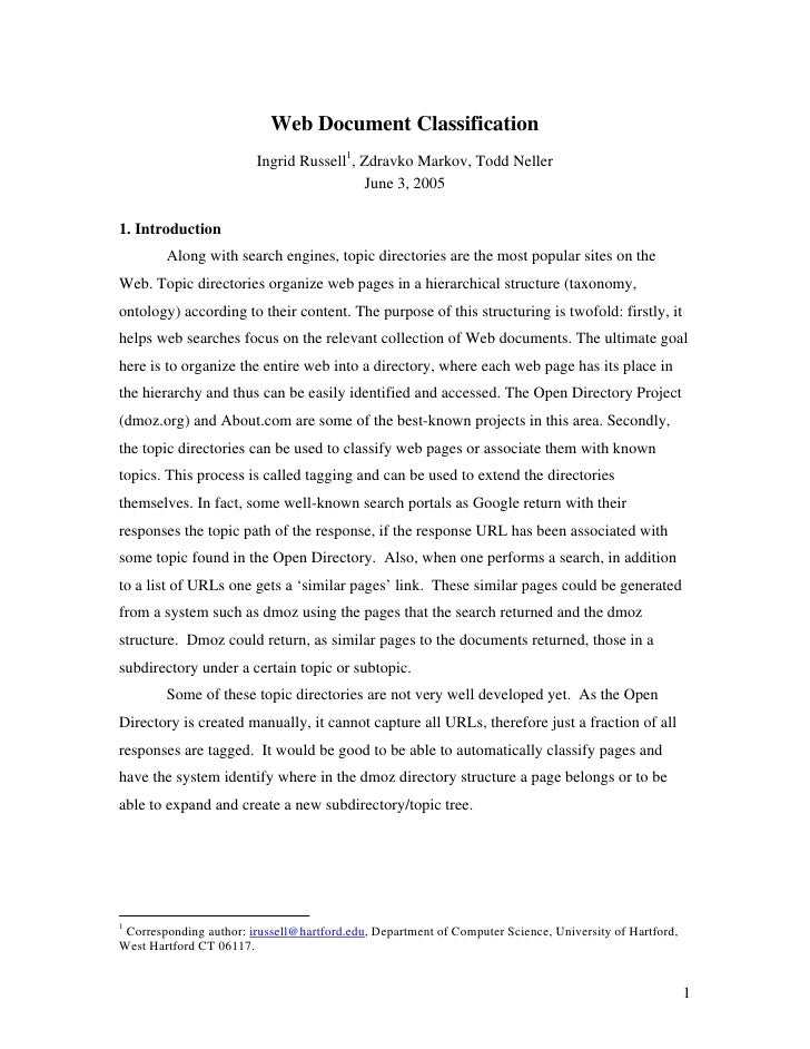 Web Document Classification                         Ingrid Russell1, Zdravko Markov, Todd Neller                          ...