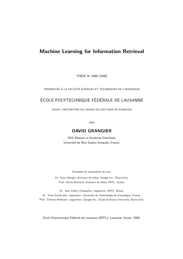 Machine Learning for Information Retrieval                                   `                              THESE No 4088 ...