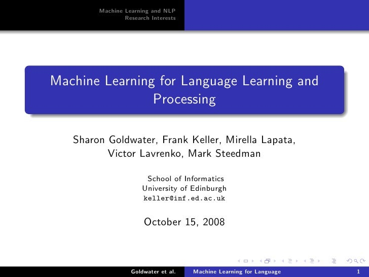 Machine Learning for Language Learning and Processing