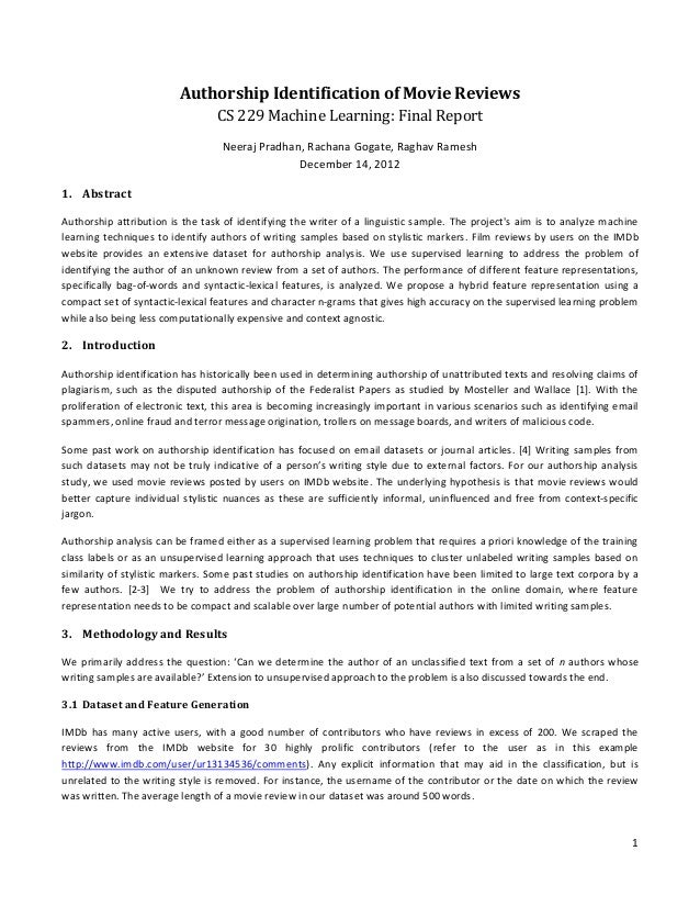 Authorship Identification of Movie Reviews                                 CS 229 Machine Learning: Final Report          ...