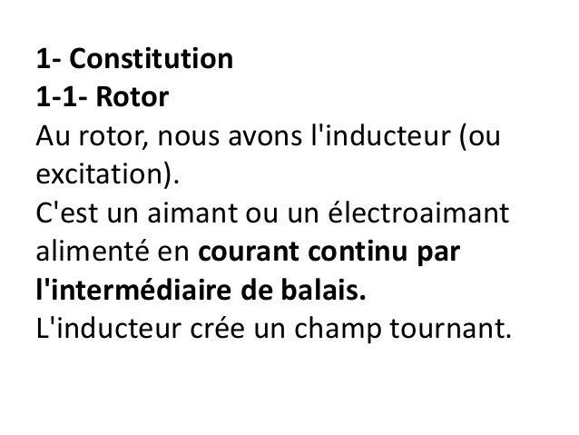 1- Constitution 1-1- Rotor Au rotor, nous avons l'inducteur (ou excitation). C'est un aimant ou un électroaimant alimenté ...