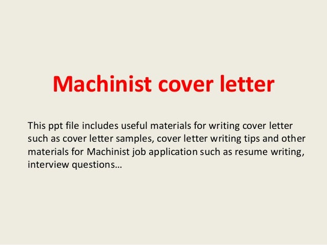 Machinist Resume Cover Letter