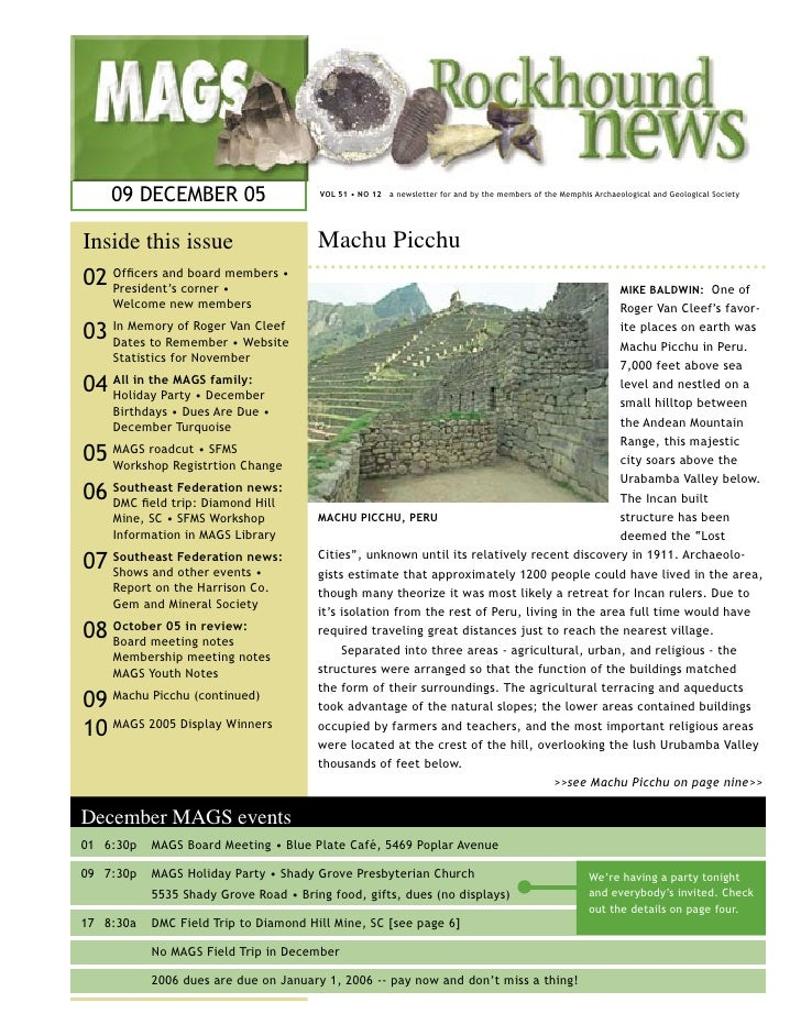 09 DECEMBER 05                     VOL 51 • NO 12 a newsletter for and by the members of the Memphis Archaeological and Ge...