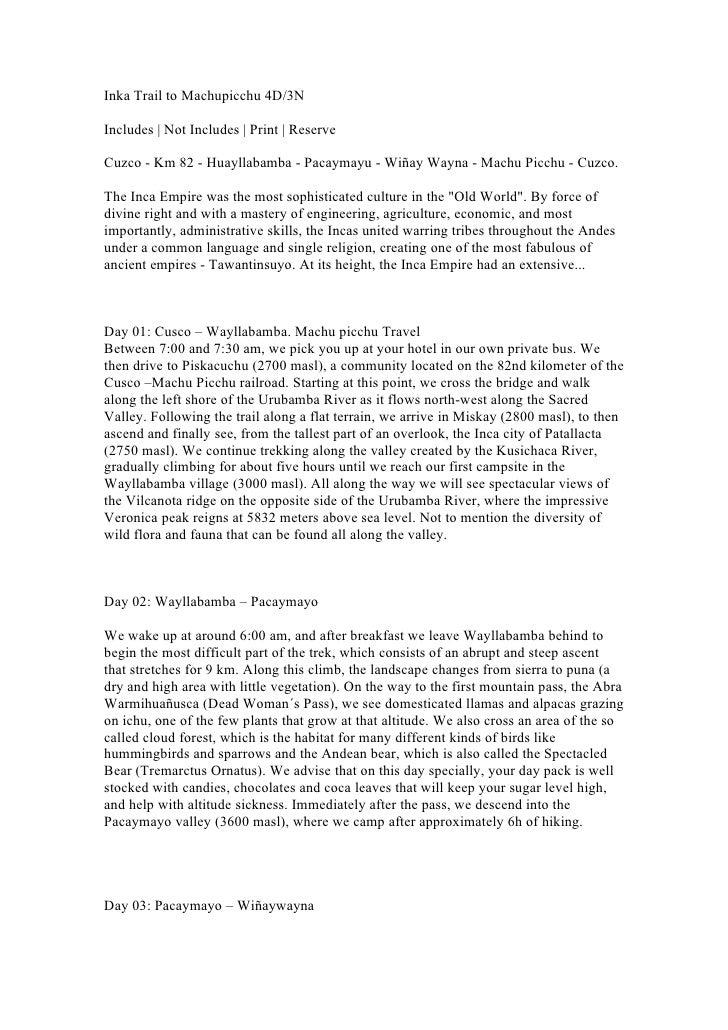 Inka Trail to Machupicchu 4D/3NIncludes | Not Includes | Print | ReserveCuzco - Km 82 - Huayllabamba - Pacaymayu - Wiñay W...