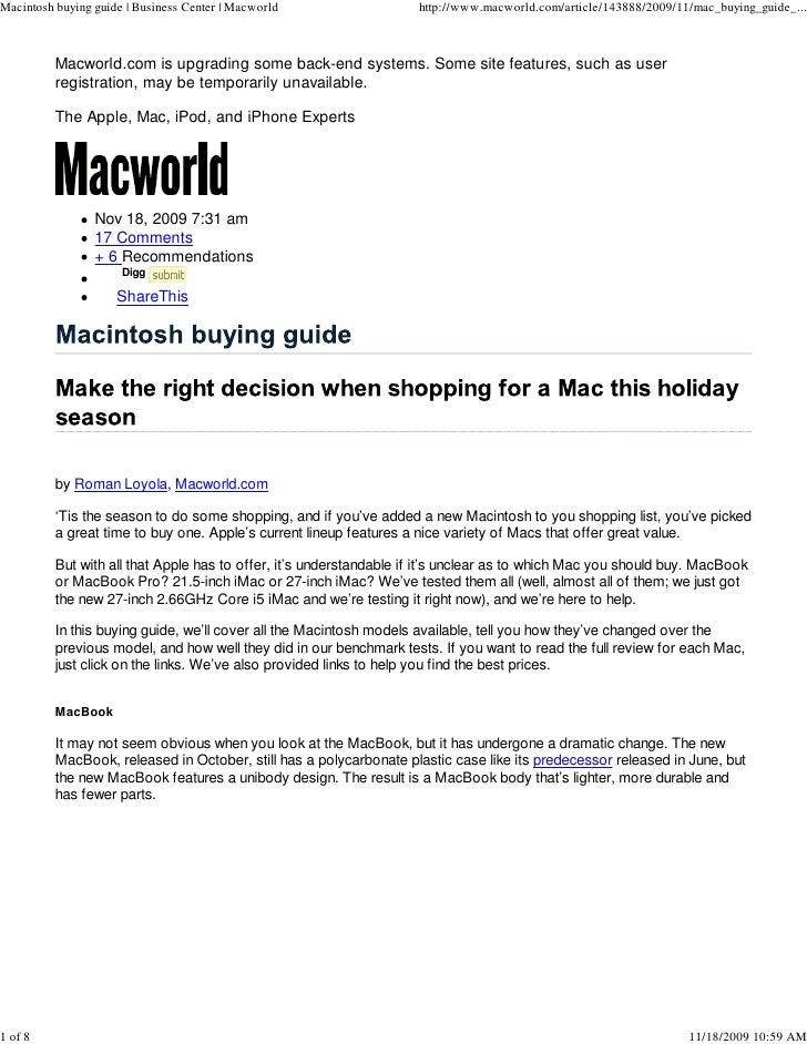 Macintosh buying guide | Business Center | Macworld                  http://www.macworld.com/article/143888/2009/11/mac_bu...