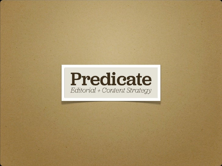 Predicate | Publishers + Content Strategy
