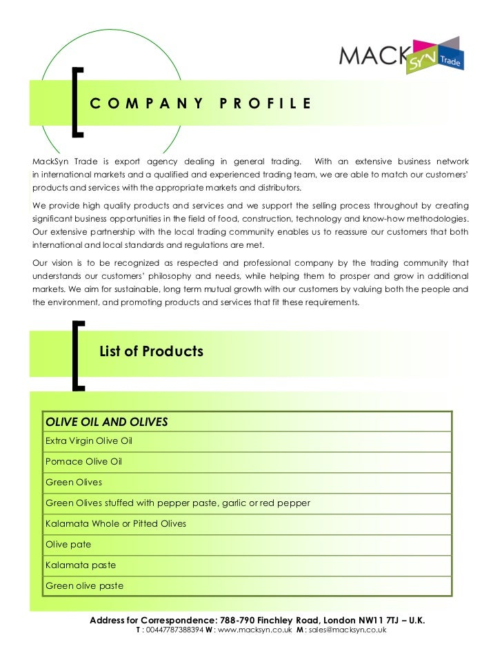 MackSyn Ltd - Export Agency - List of Products