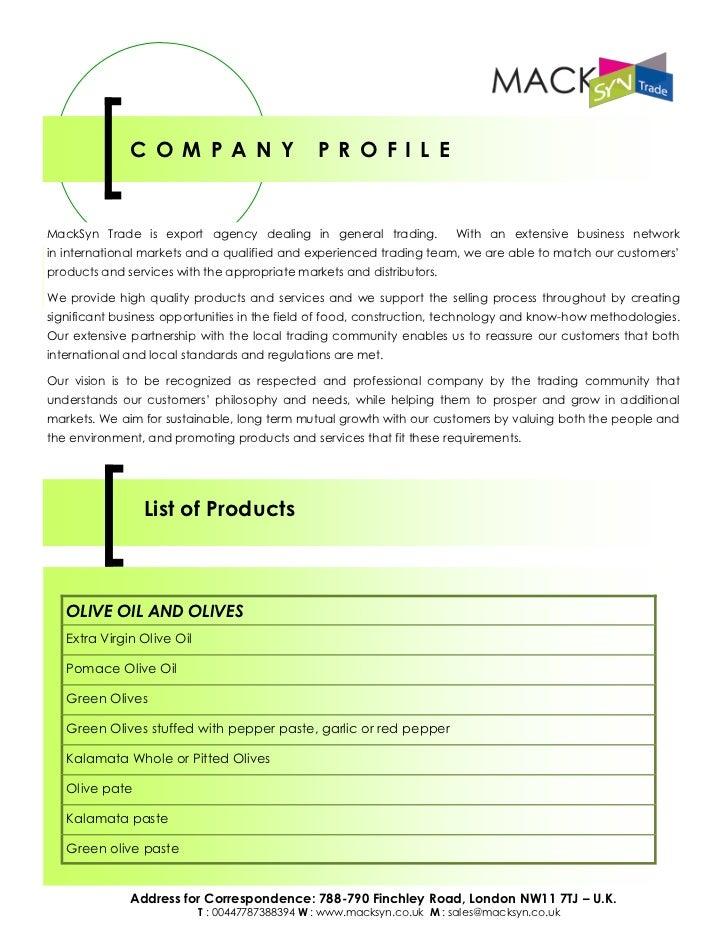 MackSyn Ltd - Export Agency - List of Products