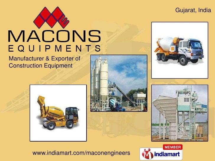 Manufacturer & Exporter of <br />Construction Equipment <br />