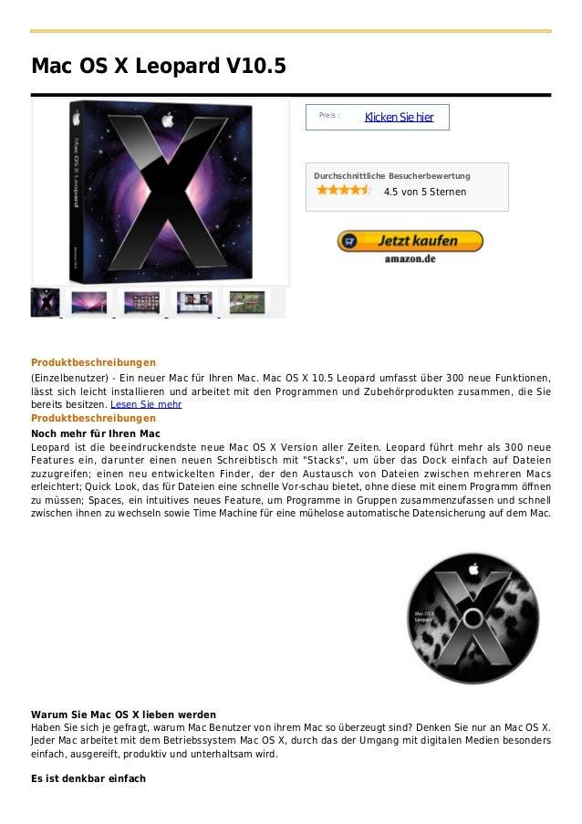 Mac OS X Leopard V10.5                                                            Preis :                                 ...
