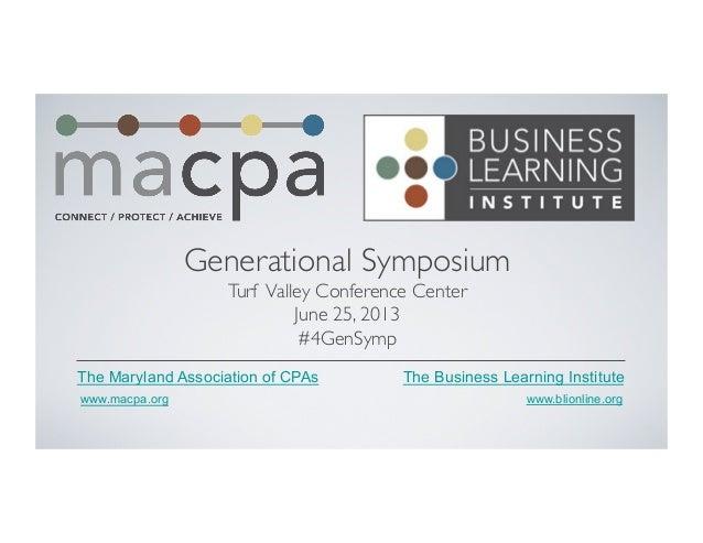 MACPA Generational Symposium - 2013