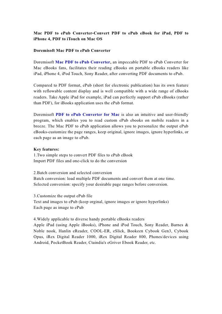 Mac PDF to ePub Converter-Convert PDF to ePub eBook for iPad, PDF to iPhone 4, PDF to iTouch on Mac OS