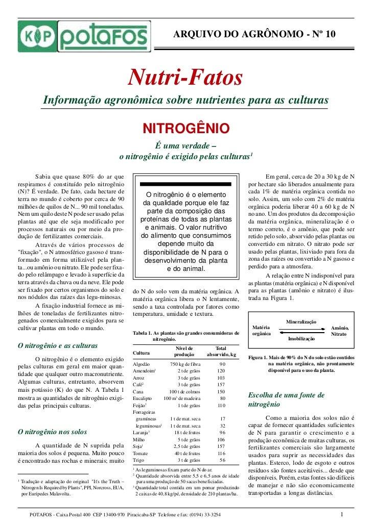 ARQUIVO DO AGRÔNOMO - Nº 10                                                               Nutri-Fatos                Infor...
