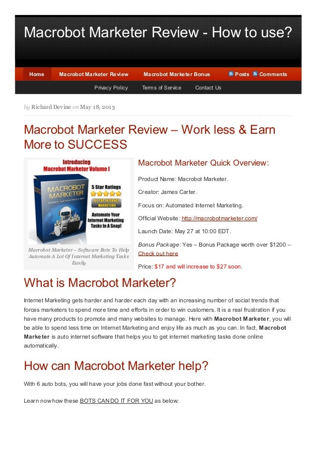 Macrobot Marketer Review - How to use?Macrobot Marketer – Software Bots To HelpAutomate A Lot Of Internet Marketing TasksE...