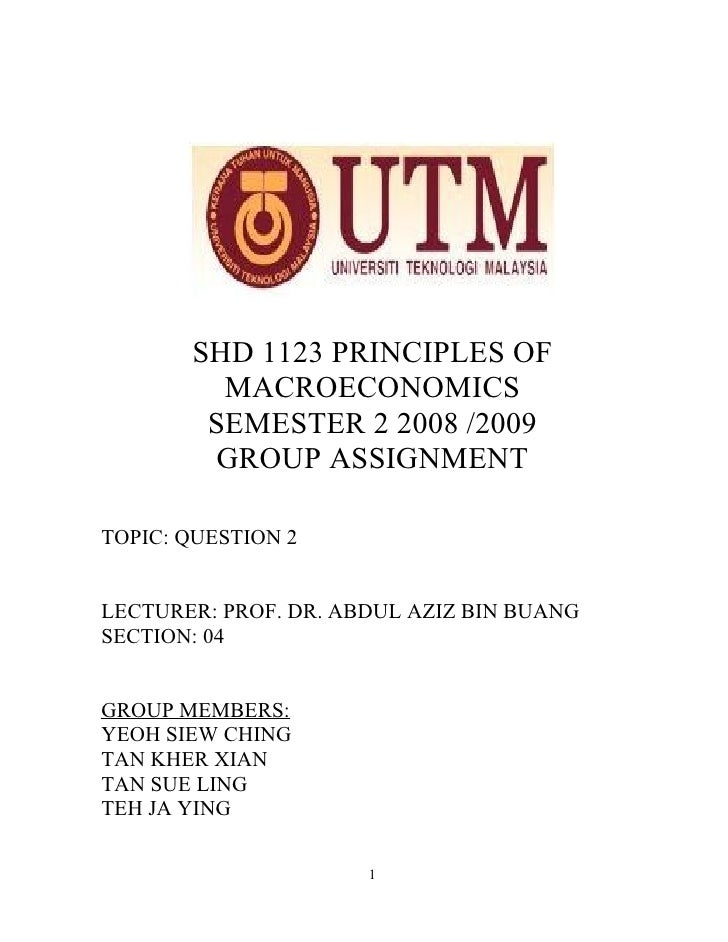 SHD 1123 PRINCIPLES OF          MACROECONOMICS         SEMESTER 2 2008 /2009         GROUP ASSIGNMENT  TOPIC: QUESTION 2  ...