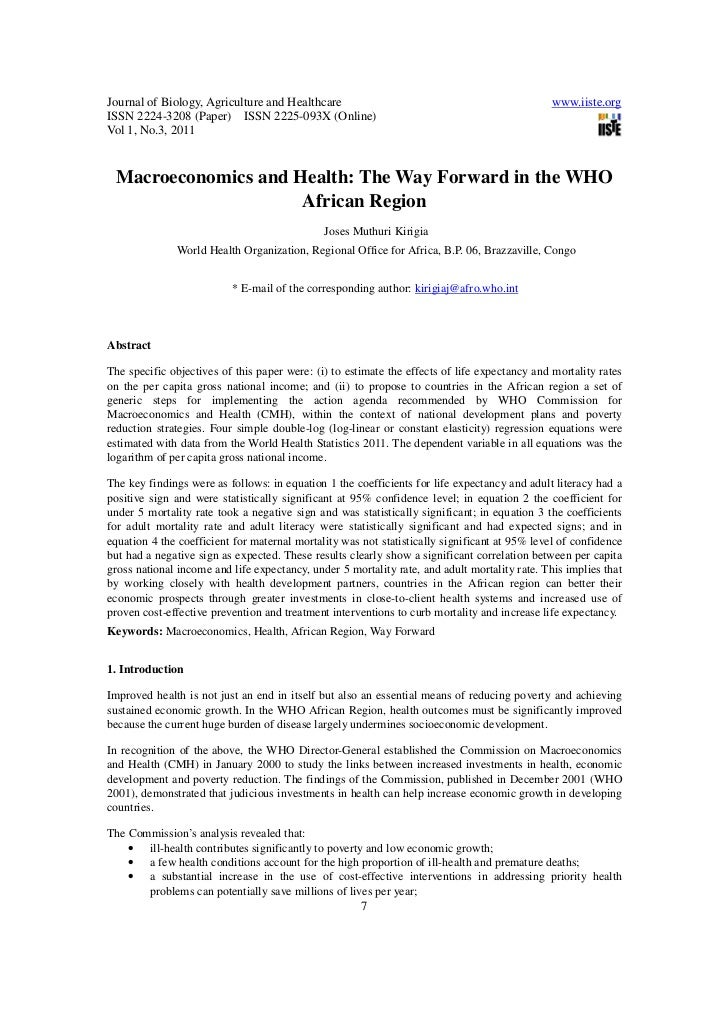 Macroeconomics and health the way forward in the who african region