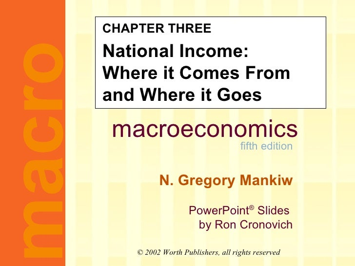 CHAPTER THREE National Income: Where it Comes From and Where it Goes
