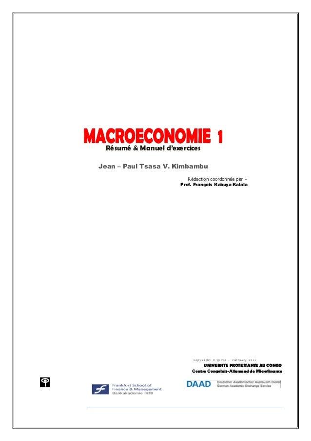 1 Jean – Paul Tsasa – chercheur Laréq Résumé & Manuel d'exercices Jean – Paul Tsasa V. Kimbambu Rédaction coordonnée par –...