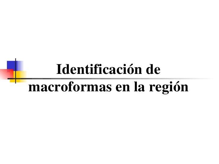 Identificación de macroformas en la región
