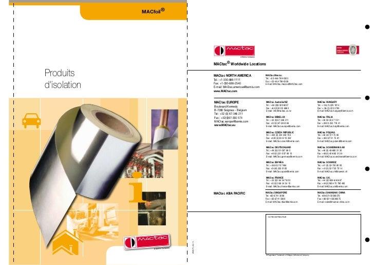 Mactac Soignies - Films adhésifs isolation - Tableau comparatif