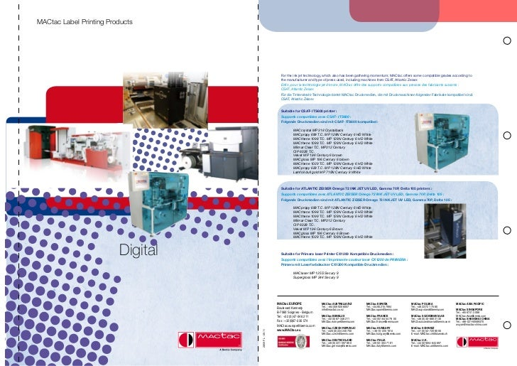 MACtac Label Printing Products                                                       For the ink jet technology, which als...