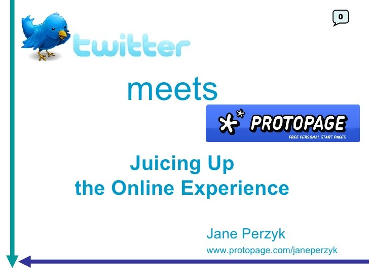 0 meets Juicing Up the Online Experience Jane Perzyk www.protopage.com/janeperzyk