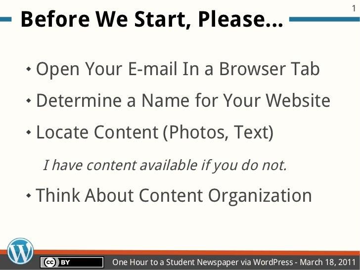 One (Half!) Hour to a Student Newspaper via WordPress