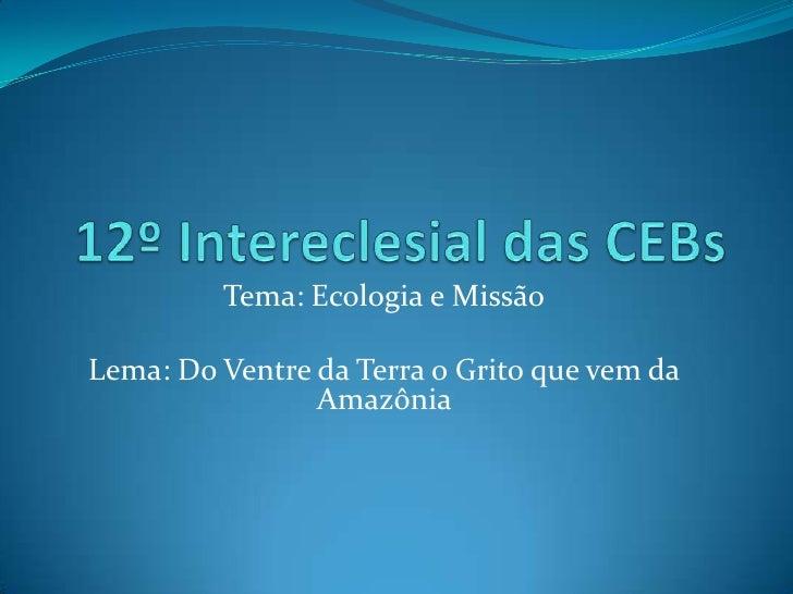 12º Intereclesial das CEBs<br />Tema: Ecologia e Missão<br />Lema: Do Ventre da Terra o Grito que vem da Amazônia <br />