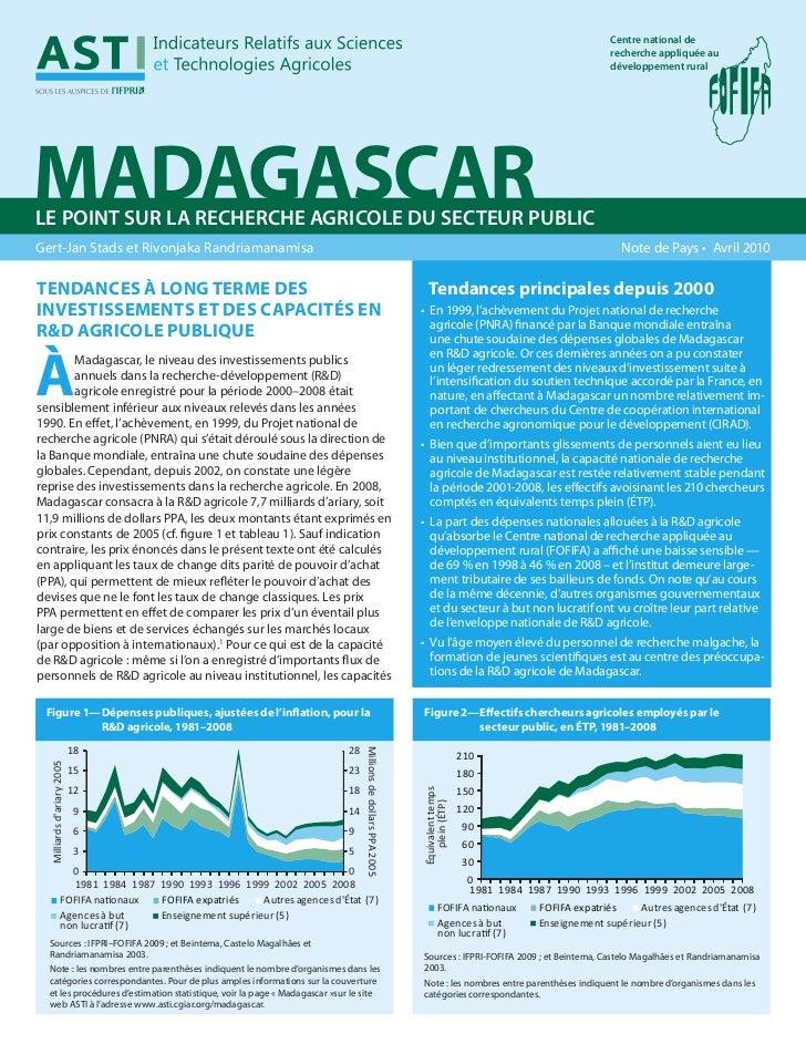 Madagascar : R&D - Agriculture - Secteur public