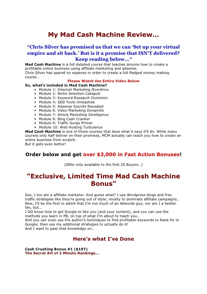 Mad Cash Machine Scam Review | Mad Cash RARE Bonus