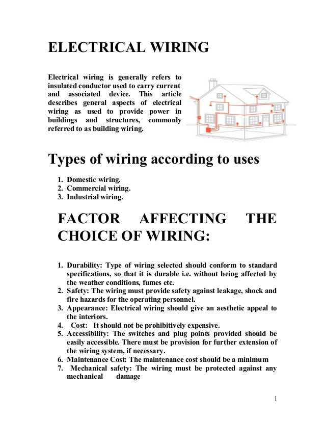 ELECTRICAL WIRING Electrical wiring is generally refers to insulated conductor used to carry current and associated device...