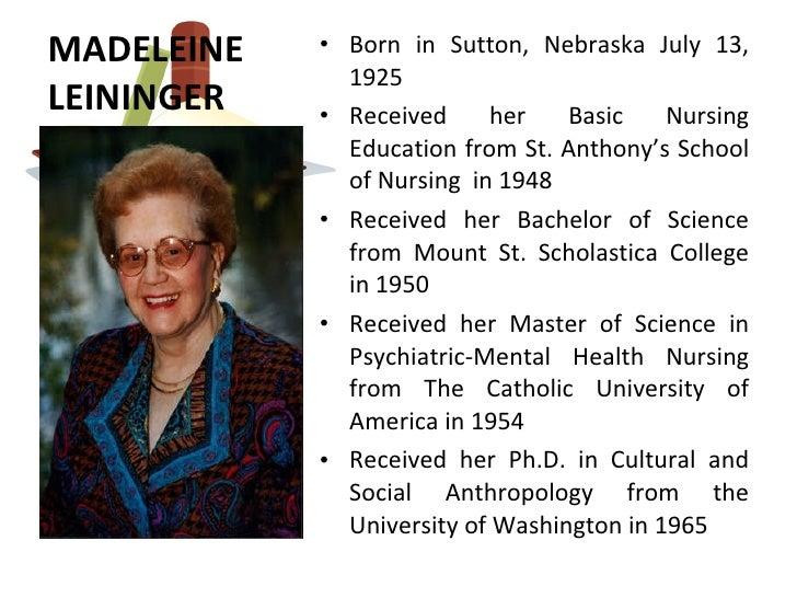 leininger madeleine biography Powerpoint slideshow about 'madeleine leininger' - dane-riddle  (http:// nursingtheoriesinfo/biography-of-madeleine-leininger/) slide4 cont.