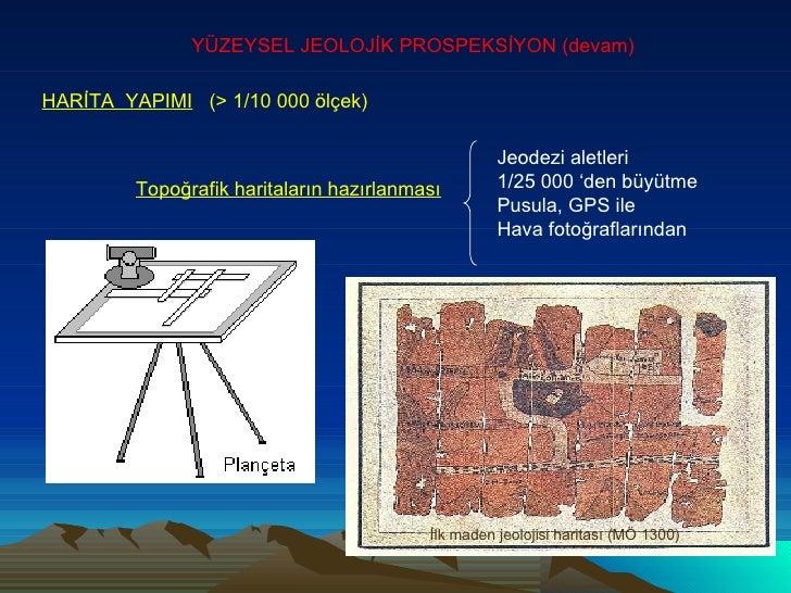 YÜZEYSEL JEOLOJİK PROSPEKSİYON (devam) HARİTA  YAPIMI   (> 1/10 000 ölçek)   Topoğrafik haritaların hazırlanması Jeodezi a...
