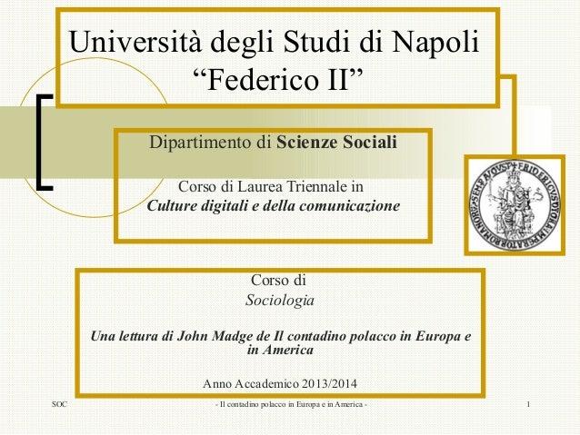"""SOC - Il contadino polacco in Europa e in America - 1 Università degli Studi di Napoli """"Federico II"""" Dipartimento di Scien..."""