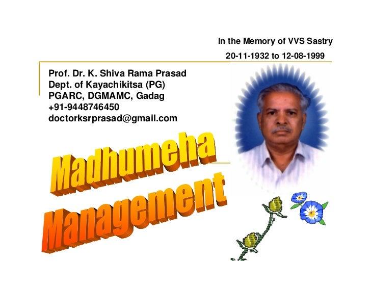 Madhumeha (Diabetes) Management