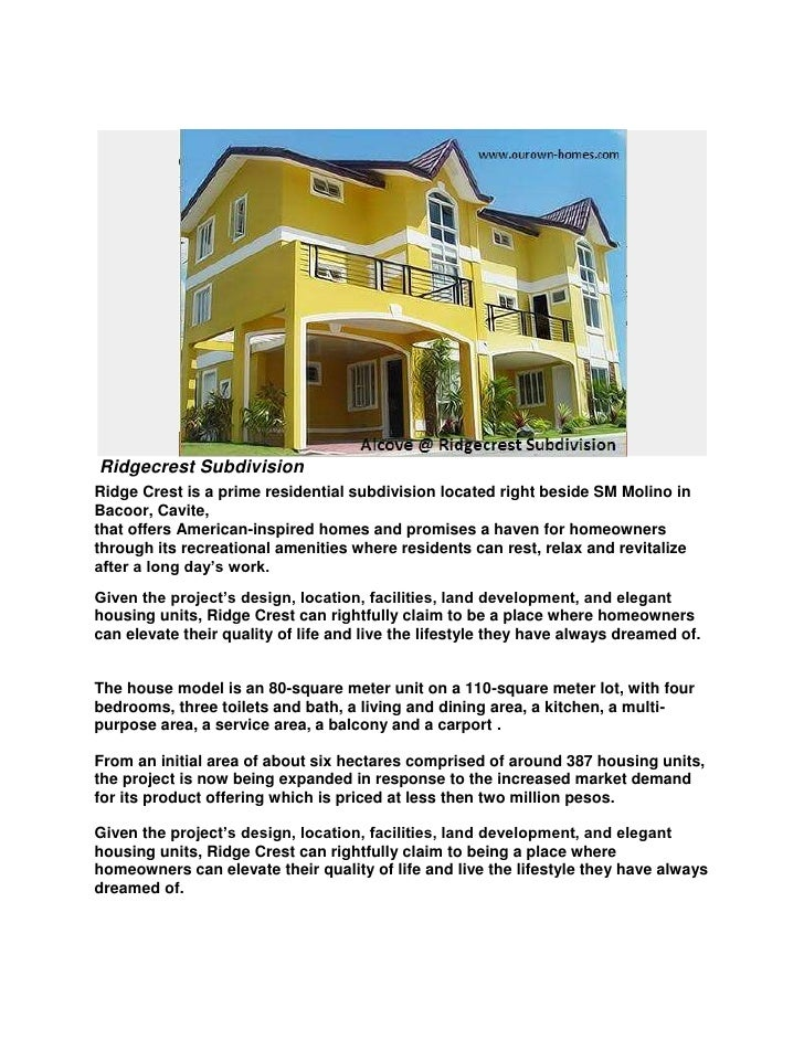 Ridgecrest Subdivision<br />Ridge Crest is a prime residential subdivision located right beside SM Molino in Bacoor,Cavit...