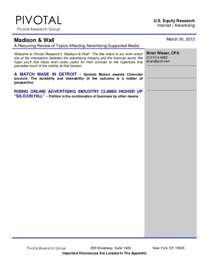 Pivotal Research Group LLC: Madison and wall  3 30-12
