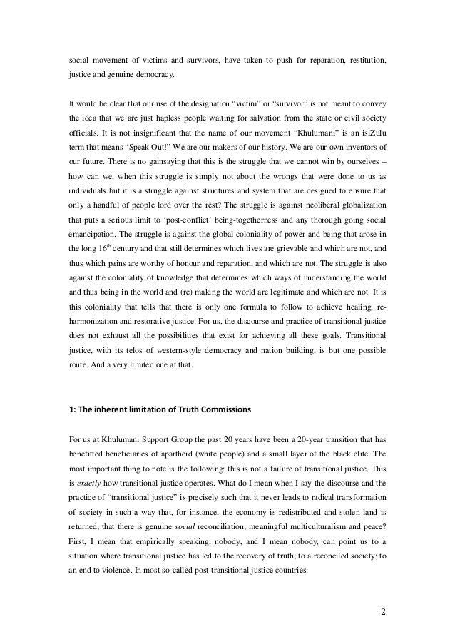 truth and reconciliation commission bringing justice Aboriginal and torres strait islander social justice  'human rights and reconciliation:  african truth and reconciliation commission in a.