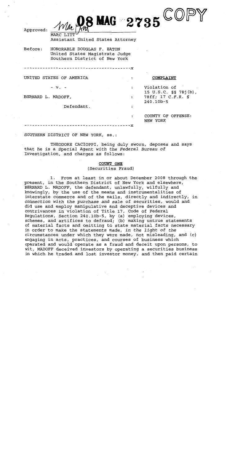 Bernie Madoff Indictment