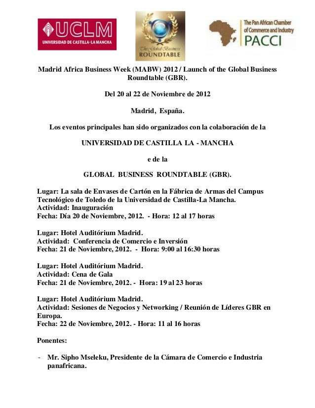 Madrid Africa Business Week 2012 - Programa y formulario de inscripción