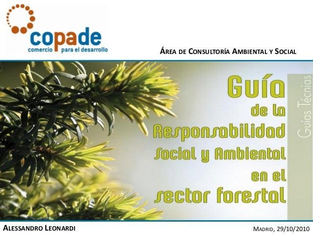 ALESSANDRO LEONARDI MADRID, 29/10/2010 ÁREA DE CONSULTORÍA AMBIENTAL Y SOCIAL