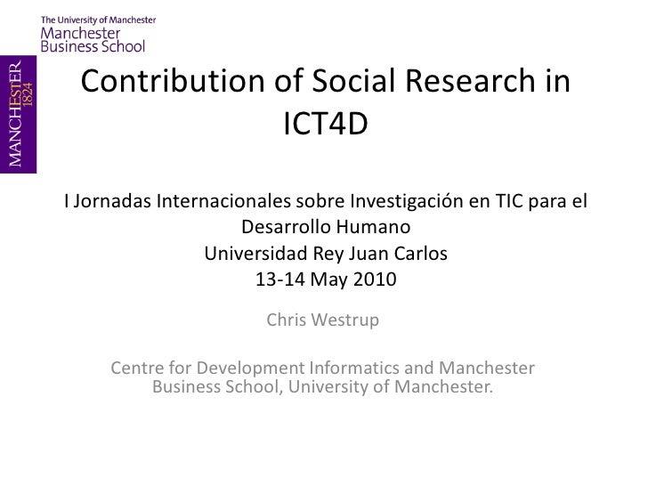 Contribuciones de la Investigación en Ciencias Sociales en las TIC para el Desarrollo Humano