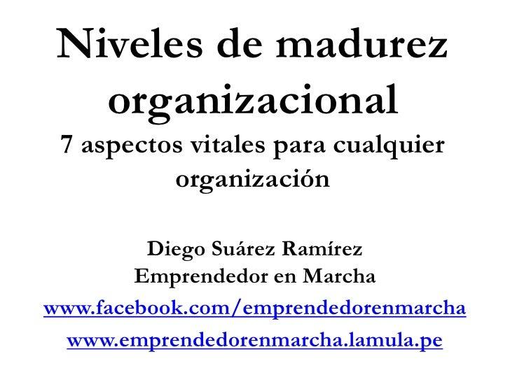 Niveles de madurez organizacional<br />7 aspectos vitales para cualquier organización<br />Diego Suárez Ramírez<br />Empre...