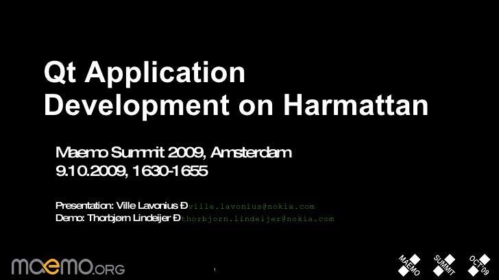 Qt Application Development on Harmattan