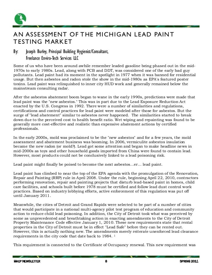 MAEP Lead Paint article Spring 2011