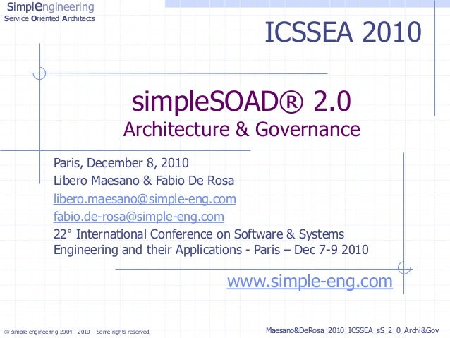simplengineeringService Oriented Architects                                                               ICSSEA 2010     ...