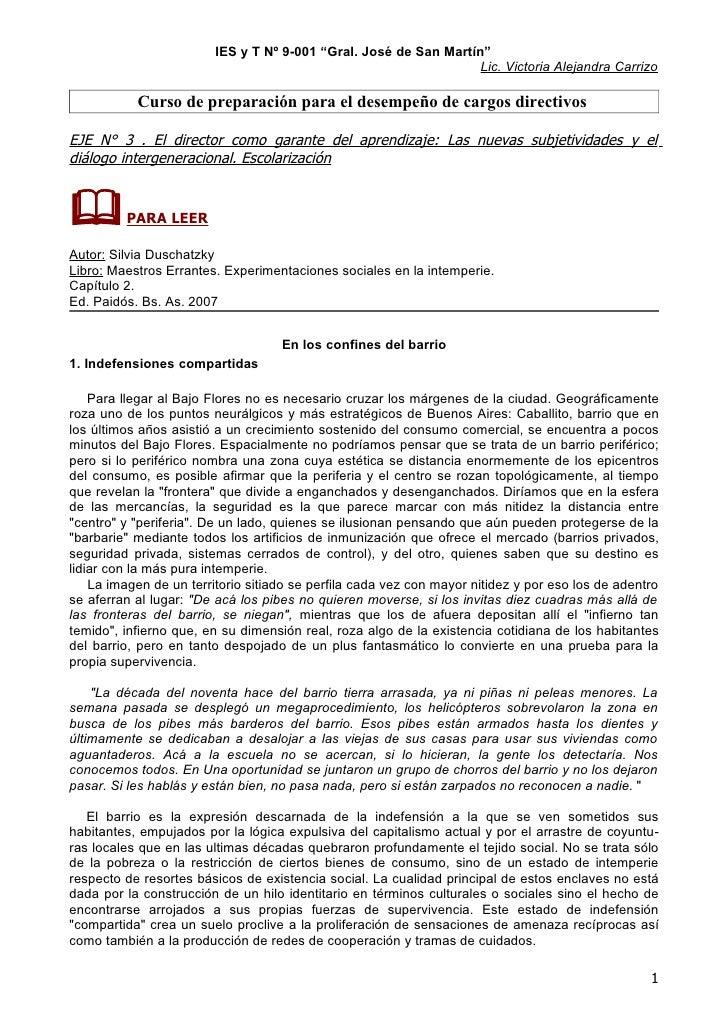 """IES y T Nº 9-001 """"Gral. José de San Martín""""                                                                   Lic. Victori..."""