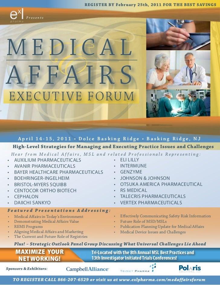 Medical Affairs Executive Forum, April 2011, Basking Ridge, NJ