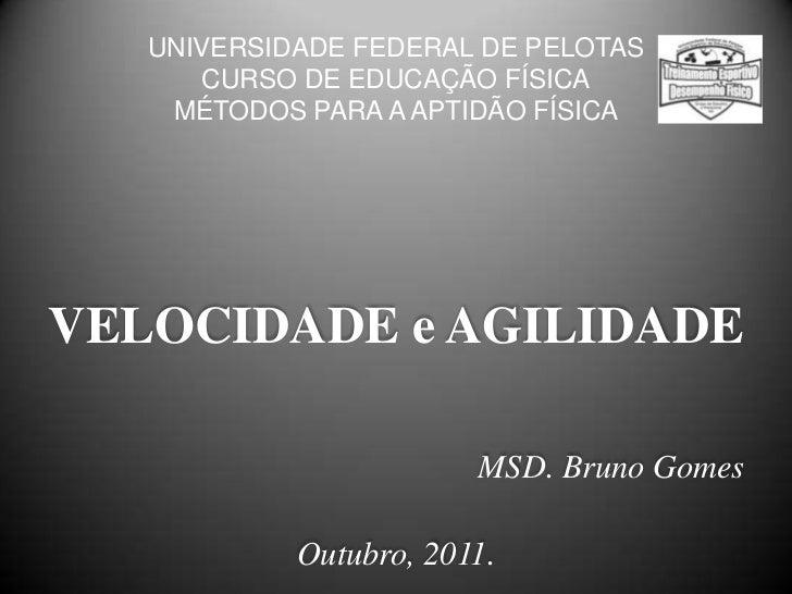 UNIVERSIDADE FEDERAL DE PELOTAS      CURSO DE EDUCAÇÃO FÍSICA    MÉTODOS PARA A APTIDÃO FÍSICAVELOCIDADE e AGILIDADE      ...